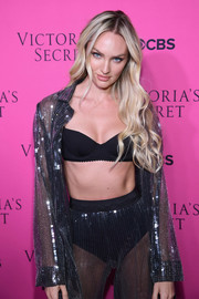 Candice Swanepoel bared her black bra in an unbuttoned, sheer sequin blouse at the 2017 Victoria's Secret fashion show viewing party.