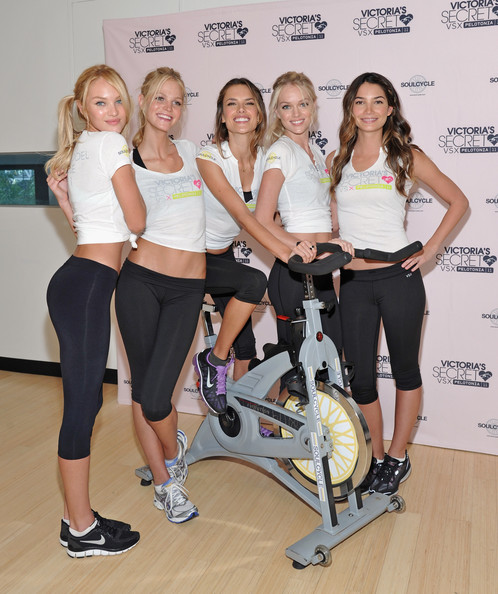 (L-R) Victoria's Secret models Candice Swanepoel, Erin Heatherton, Alessandra Ambrosio, Lindsay Ellingson, and Lily Aldridge attend the Victoria's Secret Supermodel cycle to benefit cancer at SoulCycle Tribeca on July 12, 2011 in New York City.