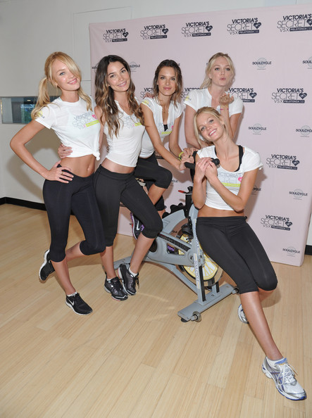 (L-R) Victoria's Secret models Candice Swanepoel, Lily Aldridge, Alessandra Ambrosio,  Lindsay Ellingson, and  Erin Heatherton  attend the Victoria's Secret Supermodel cycle to benefit cancer at SoulCycle Tribeca on July 12, 2011 in New York City.