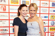 Jennifer Ulrich (L) and Nova Meierhenrich attend the Video Night 2010 at The Westin Grand on October 19, 2010 in Munich, Germany.