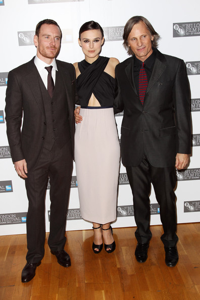 Viggo Mortensen (UK TABLOID NEWSPAPERS OUT) L-R Michael Fassbender, Keira Knightley and Viggo Mortensen attend the premiere for 'A Dangerous Method' at The 55th BFI London Film Festival at The Odeon West End on October 24, 2011 in London, United Kingdom.