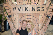 Alexander Ludwig and Katheryn Winnick attend Vikings Battle Axe Training at San Diego Comic-Con 2019 on July 20, 2019 in San Diego, California.