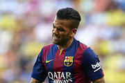Dani Alves of Barcelona gestures during the La Liga match between Villarreal CF and FC Barcelona at El Madrigal stadium on August 31, 2014 in Villarreal, Spain.