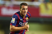 Sandro of Barcelona runs with the ball during the La Liga match between Villarreal CF and FC Barcelona at El Madrigal stadium on August 31, 2014 in Villarreal, Spain.