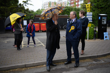 Vince Cable Tim Farron Campaigns in Kingston and Surbiton from the Liberal Democrat Battle Bus