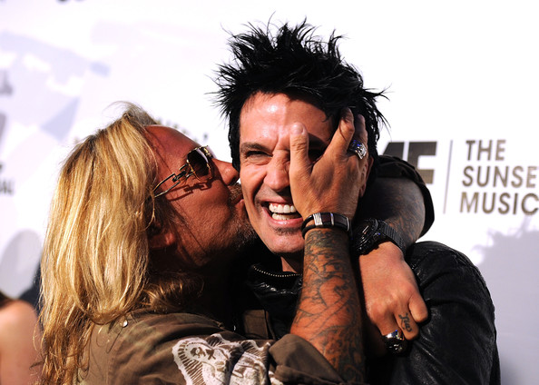 The 4th Annual Sunset Strip Music Festival [interaction,fun,gesture,band members,tommy lee,vince neil,l-r,west hollywood,california,house of blues sunset blvd,motley crue,sunset strip music festival,annual sunset strip music festival]