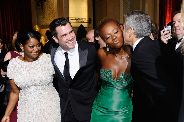 84th Annual Academy Awards - Arrivals [facial expression,event,formal wear,fashion,suit,dress,wedding reception,ceremony,fun,friendship,arrivals,octavia spencer,george clooney,viola davis,tate taylor,hollywood highland center,california,84th annual academy awards]