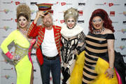 (L-R) Emma Royd, Richard Branson, Tess Tickle, and Miss Cara attend the Virgin Atlantic and Virgin Holidays World Pride Celebration at ASPIRE at One World Observatory on June 29, 2019 in New York City.
