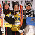 Justine Dufour-Lapointe Photos - (L-R) Chloe Dufour-Lapointe in third place,  Justine Dufour-Lapointe in first place and Yulia Galysheva of Kazakhstan in second place take the podium for the ladies' FIS Freestyle Skiing Moguls World Cup at the Visa Freestyle International at Deer Valley on February 4, 2016 in Park City, Utah. - Visa Freestyle International - Day 1
