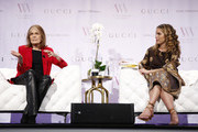 Gloria Steinem and Cleo Wade speak onstage during Visionary Women celebrate Gloria Steinem in conversation with Cleo Wade at the Beverly Wilshire, A Four Seasons Hotel on November 18, 2019 in Beverly Hills, California.