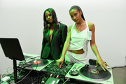 DJs Angel (R) and Dren attends the show for Vivienne Hu during New York Fashion Week at Gallery II at Spring Studios on February 13, 2018 in New York City.