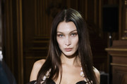 (EDITORIAL USE ONLY) Bella Hadid poses backstage before the Vivienne Westwood Womenswear Fall/Winter 2020/2021 show as part of Paris Fashion Week on February 29, 2020 in Paris, France.