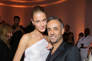 (L-R) Constance Jablonski and Francisco Costa attend Vogue 95th Anniversary Party on October 3, 2015 in Paris, France.