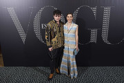 Spanish designer Palomo Spain, and model Raquel Sanchez Silva attend a dinner in honor of Victoria Beckham organized by Vogue at the Santo Mauro Hotel on January 18, 2018 in Madrid, Spain.