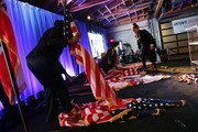 American and California flags are put away following former Los Angeles Mayor Antonio Villaraigosa's concession speech at an election night party concluding his run for governor on June 5, 2018 in Los Angeles, California. California voters cast ballots in important primaries across the state.