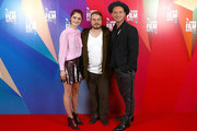 """(L-R) Raffey Cassidy, Brady Corbet and Jude Law attend the UK Premiere of """"Vox Lux"""" at the 62nd BFI London Film Festival on October 15, 2018 in London, England."""