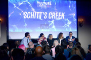 (L-R) Journalist Jesse David Fox and actors Dan Levy, Catherine O'Hara, Annie Murphy and Eugene Levy speak onstage during the 'Schitt's Creek' panel, part of Vulture Festival LA presented by AT&T at Hollywood Roosevelt Hotel on November 19, 2017 in Hollywood, California.
