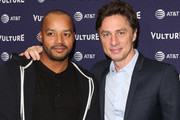 Actors Donald Faison (L) and Zach Braff (R) attend the 2018 Vulture Festival Los Angeles at The Hollywood Roosevelt Hotel on November 17, 2018 in Los Angeles, California.