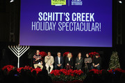 (L-R) Jackson McHenry, Dan Levy, Eugene Levy, Catherine O'Hara,  Annie Murphy, Emily Hampshire and Noah Reid speak onstage during the 'Schitt's Creek Holiday Spectacular!' during Vulture Festival presented by AT&T at Hollywood Roosevelt Hotel on November 17, 2018 in Hollywood, California.