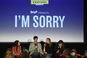 (L-R) Hunter Harris, Tom Everett Scott, Andrea Savage and Joey Slamon speak onstage during 'truTV Presents I'm Sorry' during Vulture Festival Presented By AT&T at Hollywood Roosevelt Hotel on November 18, 2018 in Hollywood, California.