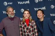 (L-R) Dan Harmon, Gillian Jacobs and Ken Jeong attend Vulture Festival Presented By AT&T at The Roosevelt Hotel on November 10, 2019 in Hollywood, California.