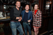Joel McHale, Ken Jeong and Gillian Jacobs in the Heineken Green Room at Vulture Festival Presented By AT&T at The Roosevelt Hotel on November 10, 2019 in Hollywood, California.