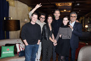 (L-R) Noah Reid, Dan Levy, Annie Murphy, Eric Bana, Emily Hampshire, and Eugene Levy attend the Heineken Green Room during Vulture Festival presented by AT&T at Hollywood Roosevelt Hotel on November 17, 2018 in Hollywood, California.