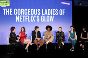 (L-R) Jan Chaney, Alison Brie, Chris Lowell, Sydelle Noel, Gayle Rankin, Liz Flahive and Carly Mensch speak onstage during Vulture Festival presented by AT&T: The Gorgeous Ladies of Netflix's Glow at Milk Studios on May 19, 2018 in New York City.