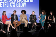 (L-R) Alison Brie, Chris Lowell, Sydelle Noel, Gayle Rankin, Liz Flahive and Carly Mensch speak onstage during Vulture Festival presented by AT&T: The Gorgeous Ladies of Netflix's Glow at Milk Studios on May 19, 2018 in New York City.