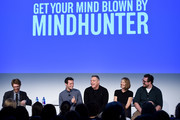 "(L-R) Abe Riesman, Jonathan Groff, Holt McCallany, Anna Torv, and Cameron Britton speak onstage during ""Get Your Mind Blown With the Cast of Mindhunter"" on Day Two of the Vulture Festival Presented By AT&T at Milk Studios on May 20, 2018 in New York City."