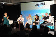Susan Blackwell, Jefferson Mays, Geneva Carr, Sarah Stiles, Brad Oscar and Christian Borle speak on stage at Vulture Festival Presents:  An Irreverent Broadway Brunch  at Milk Studios on May 31, 2015 in New York City.