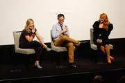 """(L-R) Amy Poehler, Jesse David Fox and Julie Klausner speak onstage during Vulture + Hulu's screening of """"Difficult People"""" on August 7, 2017 in New York City."""