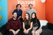 (Back row L-R) Andy Siara, Max Barbakow, (Front row L-R) Andy Samberg, Cristin Milioti, and Camila Mendes attend The Vulture Spot presented by Amazon Fire TV 2020 at The Vulture Spot on January 25, 2020 in Park City, Utah.