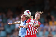 Emily Sonnett of Sydney FC and Jodie Taylor of Melbourne City competes for the ball during the W-League Grand Final match between Sydney FC and Melbourne City FC at Allianz Stadium on February 18, 2018 in Sydney, Australia.
