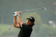 Phil Mickelson of the USA hits a shot on the 18th hole during the final round of the WGC-HSBC Champions at the Sheshan International Golf Club on November 3, 2013 in Shanghai, China.