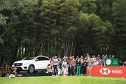 Francesco Molinari of Italy plays his shot from the 17th tee during the first round of the WGC - HSBC Champions at Sheshan International Golf Club on October 25, 2018 in Shanghai, China.