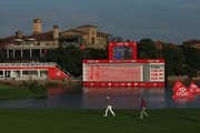 Jordan Spieth of the USA and Bubba Watson of the USA approach the green on the 18th hole during the second round of the WGC - HSBC Champions at the Sheshan International Golf Club on November 6, 2015 in Shanghai, China.