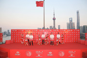 (L to R) Justin Rose of England, Rickie Fowler of the United States, Adam Scott of Australia, Martin Kaymer of Germany and Bubba Watson of the United States hold traditional Chinese lanterns atop the Peninsula Hotel prior to the start of the WGC - HSBC Champions on November 4, 2014 in Shanghai, China.
