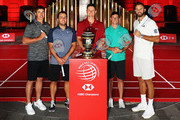 Brooks Koepka of the United States, Francesco Molinari of Italy, Justin Rose of England, Rory McIlroy of Northern Ireland and Dustin Johnson of the United States pictured during a photocall ahead of the WGC - HSBC Champions at the Chamber of Commerce Shanghai on October 23, 2018 in Shanghai, China.
