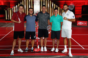 Justin Rose of England, Francesco Molinari of Italy, Brooks Koepka of the United States,  Rory McIlroy of Northern Ireland and Dustin Johnson of the United States pictured during a photocall ahead of the WGC - HSBC Champions at the Chamber of Commerce Shanghai on October 23, 2018 in Shanghai, China.