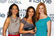 (L-R) Actresses Gina Torres, Meghan Markle and Sarah Rafferty attend the WGC Hosts Party With InStyle & HFPA To Celebrate TIFF at the Windsor Arms Hotel on September 11, 2012 in Toronto, Canada.