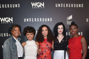 """(L-R) Executive producer/creator Misha Green and actresses Amirah Vann, Jurnee Smollett-Bell, Jessica de Gouw and Adina Porter attend WGN America's """"Underground"""" For Your Consideration Emmy Event on April 17, 2016 in Beverly Hills, California."""