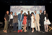 """(L-R) Moderator Nischelle Turner, executive producers/creators Misha Green and Joe Pokaski and actors Anthony Hemingway, Jurnee Smollett-Bell, Aldis Hodge, Amirah Vann, Christopher Meloni, Alano Miller and Jessica de Gouw pose onstage at WGN America's """"Underground"""" For Your Consideration Emmy Event on April 17, 2016 in Beverly Hills, California."""