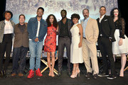 """(L-R) Executive producers/creators Misha Green and Joe Pokaski and actors Anthony Hemingway, Jurnee Smollett-Bell, Aldis Hodge, Amirah Vann, Christopher Meloni, Alano Miller and Jessica de Gouw pose onstage at WGN America's """"Underground"""" For Your Consideration Emmy Event on April 17, 2016 in Beverly Hills, California."""