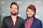 Actors Shane West (L) and Seth Gabel attend WGN America's Presentation of the upcoming drama 'SALEM' premiering Spring 2014, at Winter TCA held at The Langham Huntington Hotel and Spa on January 12, 2014 in Pasadena, California.