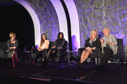 (L-R) EVP of Finance at Scripps Networks Interactive Lori Hickok, Founder of Threads for Teens Allyson Ahlstrom, and Author and Humanitarian of The Angelrock Project  Malaak Compton-Rock EVP and CFO of ESPN Christine Driessen, and Former President of Food Network and HGTV Judy Girard speak onstage at the 2013 WICT Leadership Conference at the New York Marriott on October 7, 2013 in New York City.