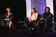 (L-R) EVP of Finance at Scripps Networks Interactive Lori Hickok, Founder of Threads for Teens Allyson Ahlstrom, and Author and Humanitarian of The Angelrock Project  Malaak Compton-Rock speaks onstage the 2013 WICT Leadership Conference at the New York Marriott on October 7, 2013 in New York City.