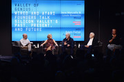 (L-R) Adam Fisher, Jane Metcalfe, Louis Rossetto, Nolan Bushnell, and a sign language interpreter speak onstage at WIRED25 Festival: WIRED Celebrates 25th Anniversary ? Day 2 on October 14, 2018 in San Francisco, California.