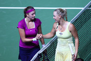 Petra Kvitova of Czech Republic is congratulated by Caroline Wozniacki of Denmark after their match during day three of the season ending TEB BNP Paribas WTA Championships Tennis at the Sinan Erdem Stadium on October 27, 2011 in Istanbul, Turkey.