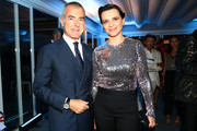 Giampaolo Letta and Juliette Binoche attend a cocktail reception for 'The Wait' hosted by Tiffany & Co. during the 72nd Venice Film Festival at Terrazza Biennale on September 5, 2015 in Venice, Italy.